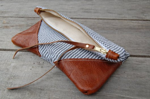 Striped zipper bag by Arrows Design via Etsy