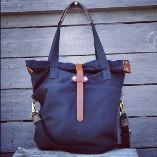 Black tote with strap by Arrows Design via Etsy