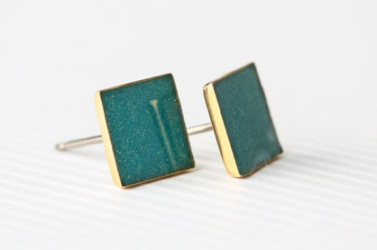 Teal Shimmer Square Post Earrings by A Rainy Afternoon