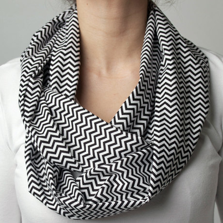 Long Black Chevron Scarf by SYG Boutique
