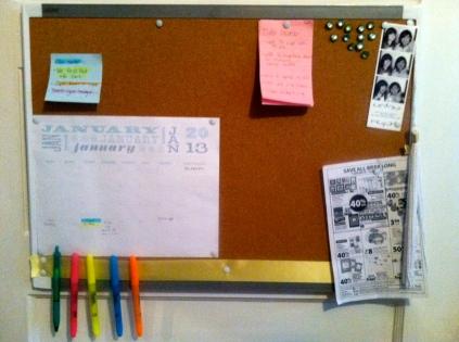 calendar organized bulletin board