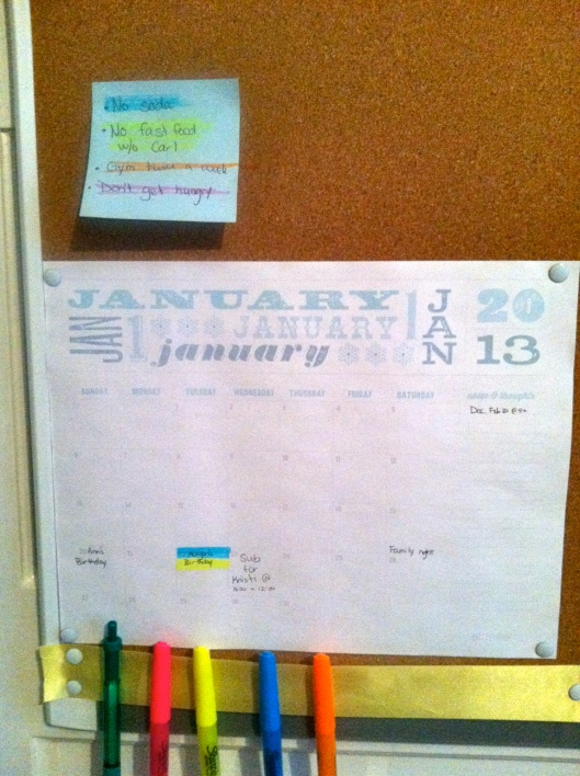 January calendar bulletin board