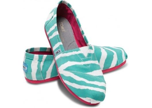 TOMS turquoise zebra striped classics