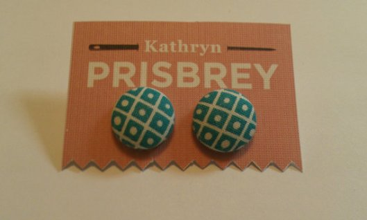 Kathryn Prisbey turquoise fabric covered earrings
