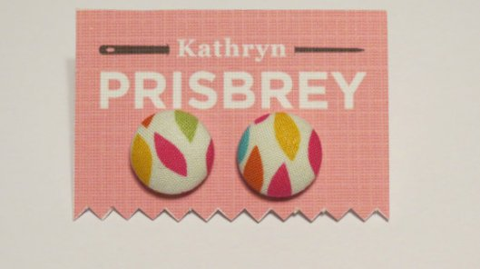 Kathryn Prisbey colored leaves fabric covered earrings