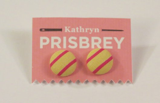 Kathryn Prisbey pink and yellow fabric covered earrings