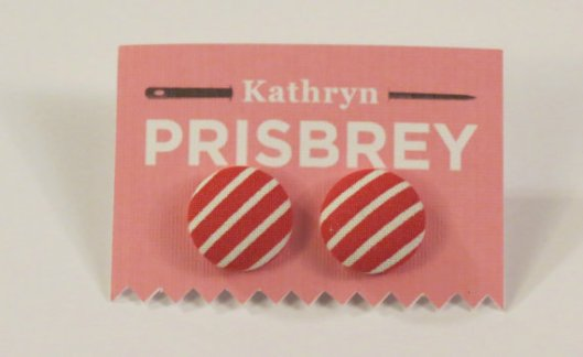 Kathryn Prisbey red and white fabric covered earrings