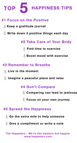 5 Happiness tips from the happsters