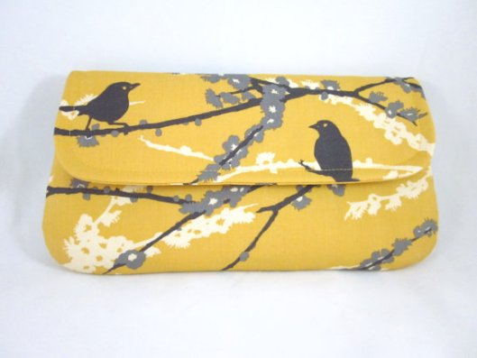 Yellow gray bird clutch by Waterpath