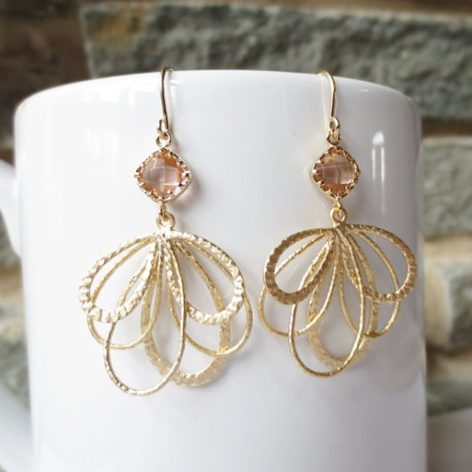 Champagne gold dangle earrings by Elle Jewels