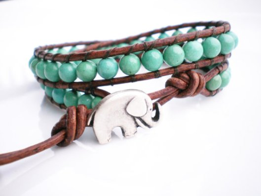 Turquoise and leather wrap elephant bracelet by Ropes of Pearls
